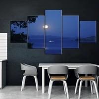 5 piece decorative peinture affiche nouvelle mode bureau maison murale mer surface la nuit Art paysage peinture Fanxin vente en gros