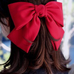 Big Bow Hairpin For Women Wine Red Korean Style Lolita Clips Teens School Hair Accessories