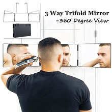 Portable 3 Way Tri Fold Mirror 360° Barber Mirror with Adjustable Height Brackets DIY Haircut Tool Self Hair Cutting for Travel