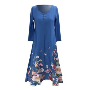 Dress Women Draped Dress Midi Dress Printed Buttons Summer V Neck Long Sleeve Dress for Party elegant sexy mini dress Long dress