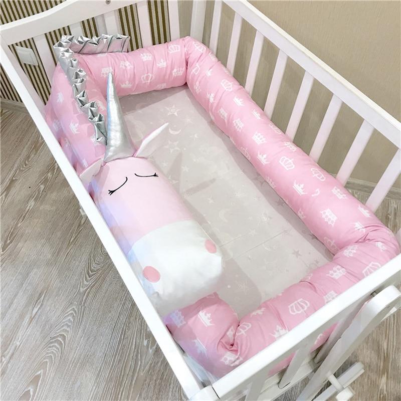 Protector de cuna para bebé de 2m, 3m y 4m, cojín con diseño de unicornio, cerca para cama, Protector de cuna para recién nacidos, decoración para habitación con parachoques