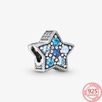 new hot 925 sterling silver bright blue star beads jewelry gift fit original pandora bracelet silver 925 charm pendant making