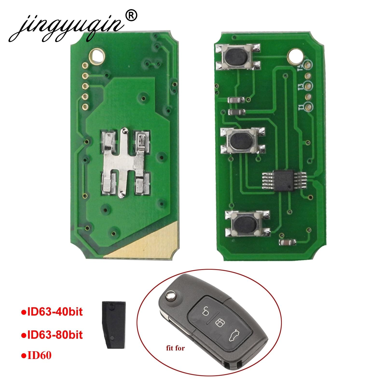 Jingyuqin 433 МГц 3 кнопки дистанционного ключа электронная плата для Ford Focus 2 3 Mondeo Fiesta C Max S Max Galaxy ID60 ID63 чип