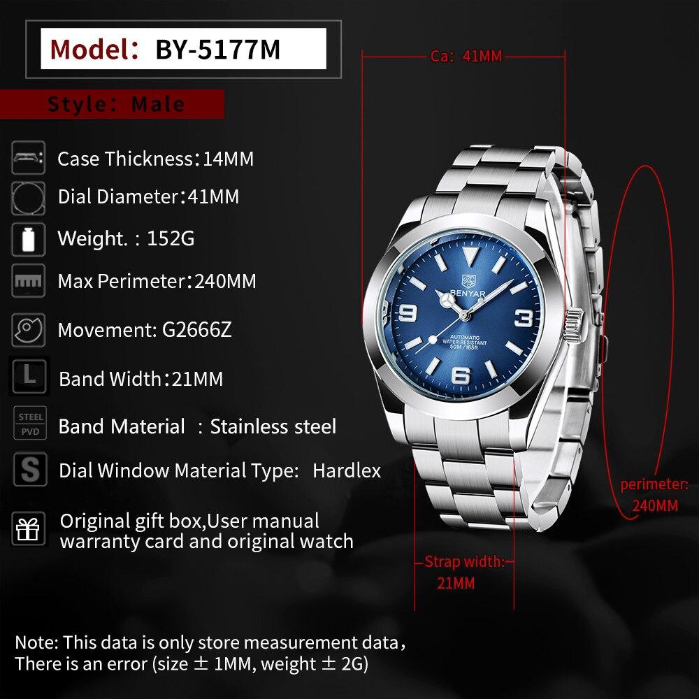 2021 nova benyar relógios masculinos automáticos marca