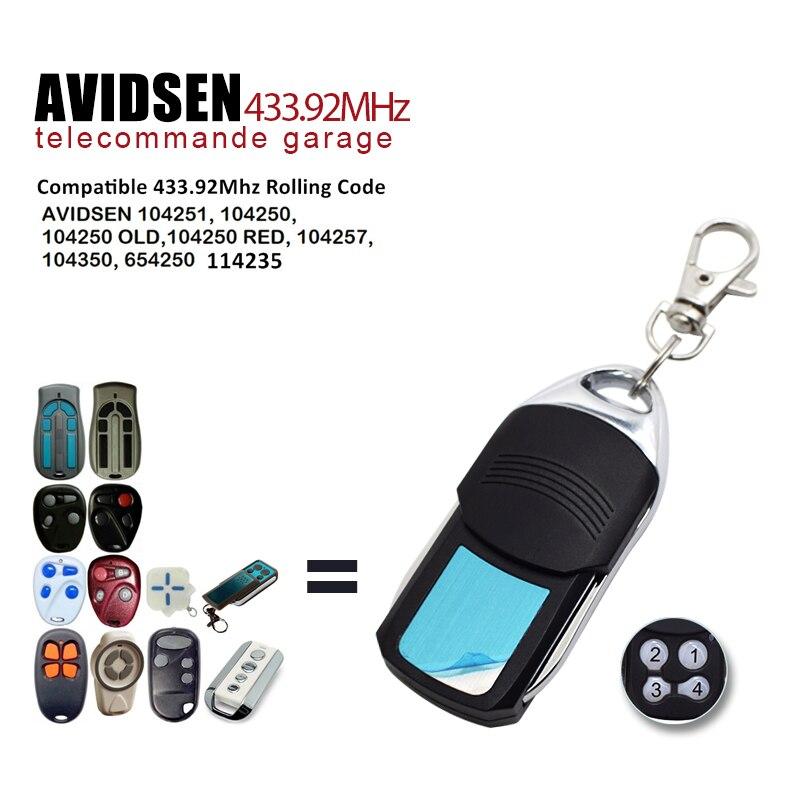 Porta da garagem avidsen controle remoto 433 mhz rolamento código portão abridor para 114253 104250 104251 104250 controles remotos 433.92