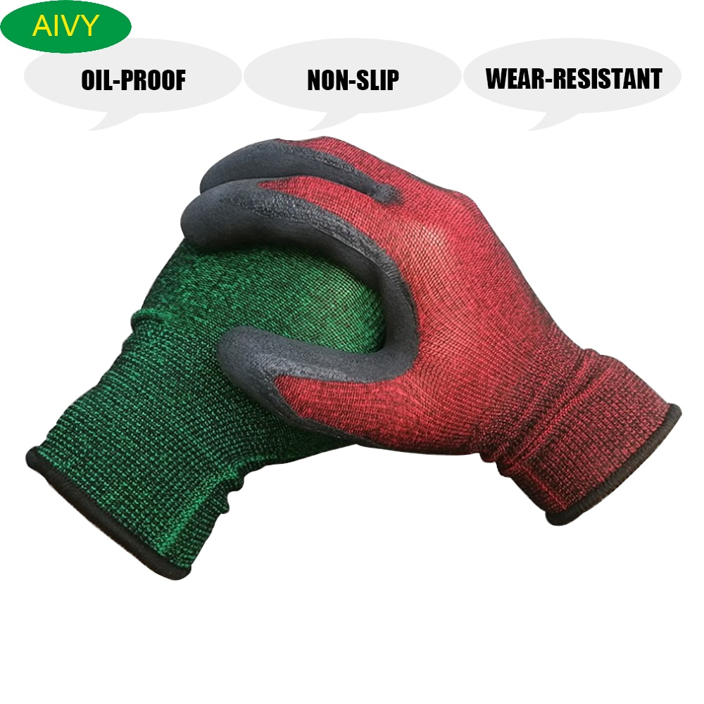 Nitrile Rubber Gardening Gloves,Oil-Proof Non-Slip Wear-Resistant Nylon Gloves,Hand Guarding Tools for Planting and Construction latex gloves security protective five fingers wear resistant non slip 1 pair red and yellow for casting metallurgical