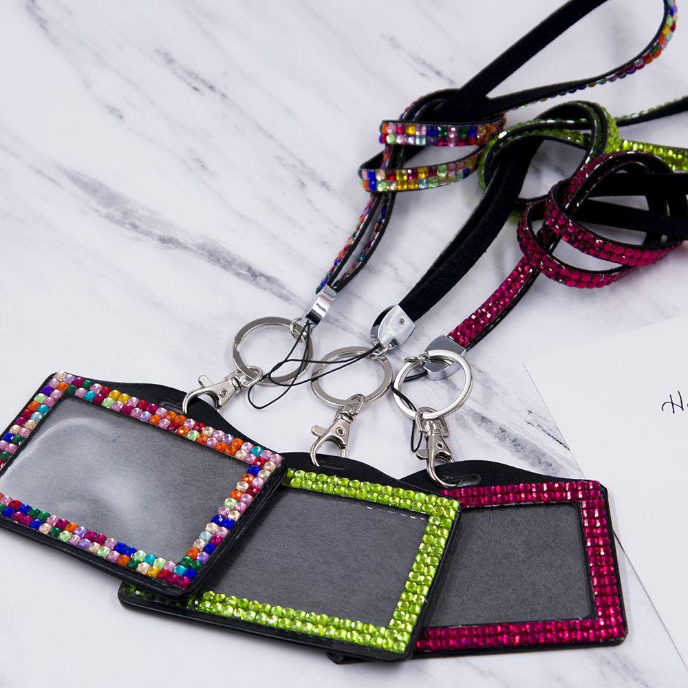 Tarjetero de resina con diamantes de imitación para hombre y mujer, soporte de cuello con cordón, insignia, personal, tarjeta de identificación, autobús, portadores de identificación