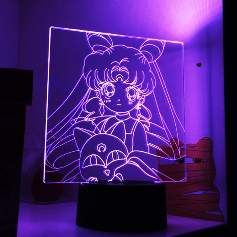 3D Led Night Light Anime Characters Sailor Moon  Girls Bedroom Decor Light Touch Sensor Rgb Colorful Nightlight Led Table Lamp
