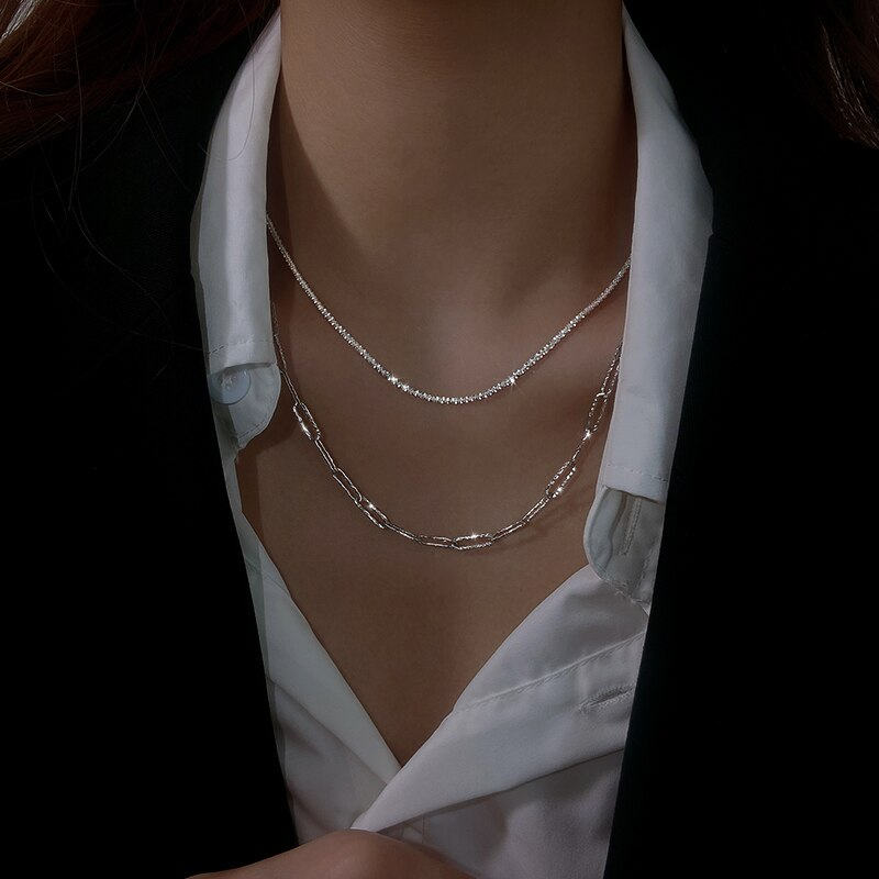 925 Sterling Silver Sparkling Starry Thick Chain Necklace for Women 2021 New Fashion Clavicle Chain