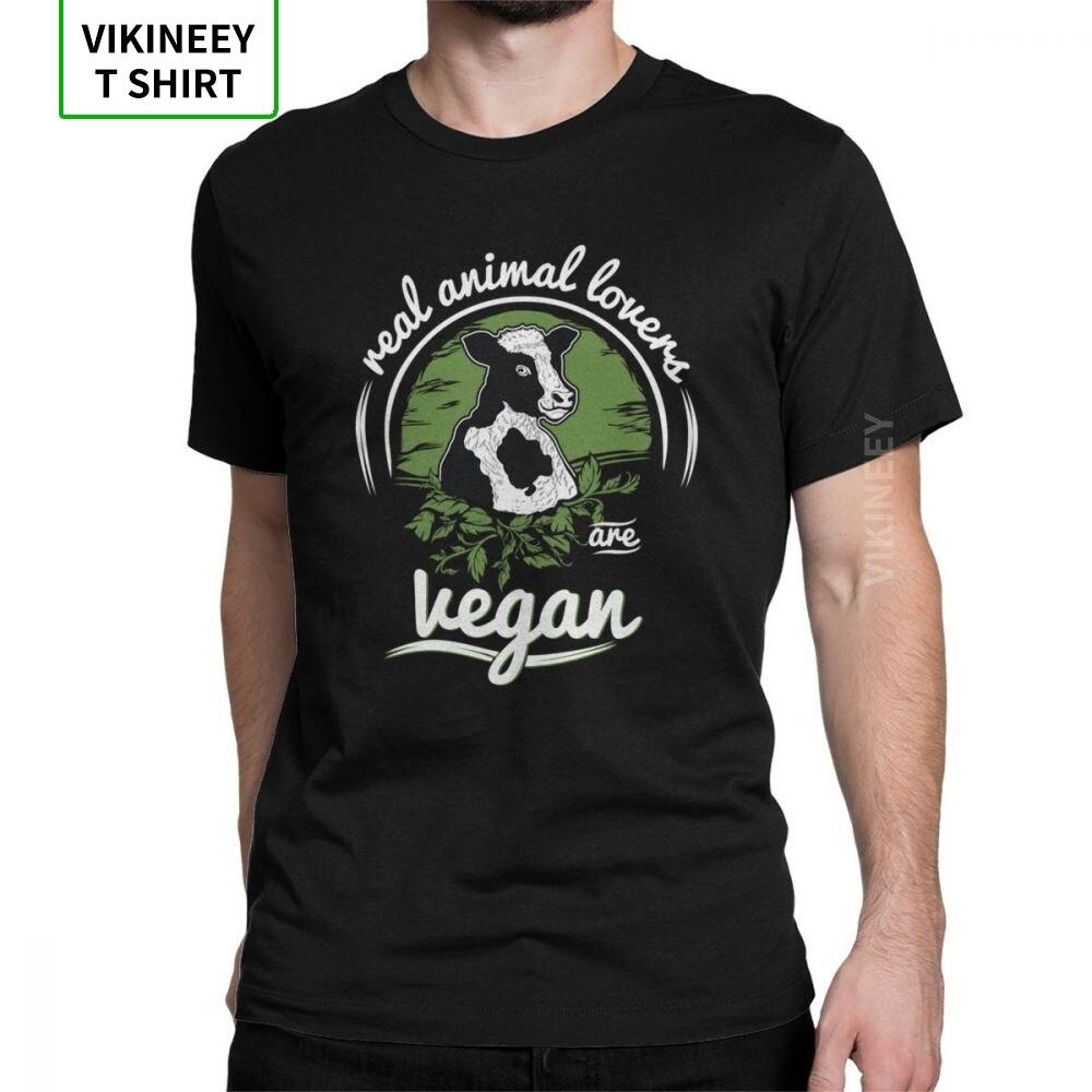 Real vaca amantes são vegan t camisas dos homens impresso roupas vintage t-shirts tripulação pescoço 100% algodão camiseta swag streetwear para caras