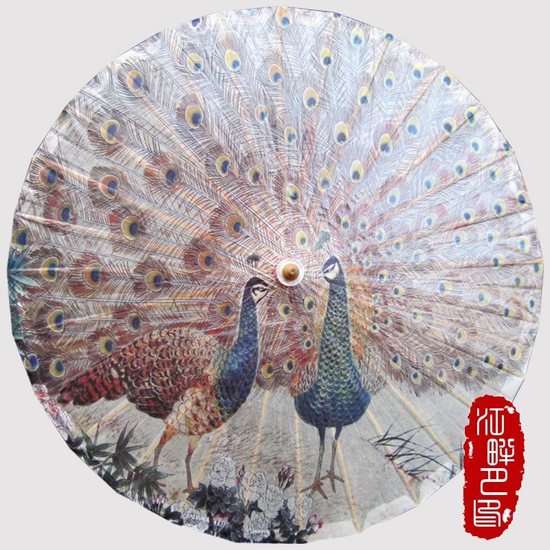 JIANGPANYUE Pavão Exibindo sua Cauda Oleada Papel Guarda-chuva Chinês Handmade Cosplay Umbrella Parasol Animal Bamboon