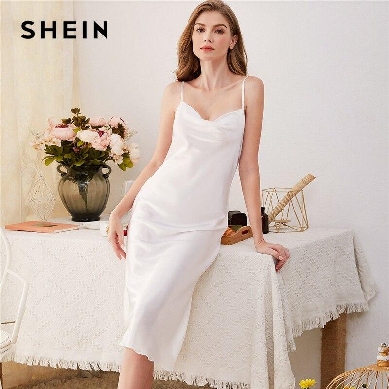 SHEIN-Vestido camisero largo de satén con escote en pico, ropa de noche de otoño con dobladillo de volantes y Tirantes ajustables, ropa de dormir Sexy para mujer