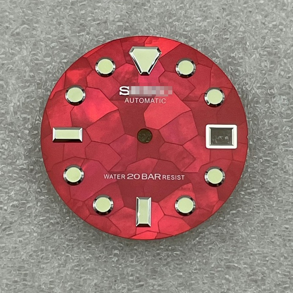 Watch Parts 28.5mm Red Dial Luminous Marks Watch Dial Fit NH35 Automatic Movement