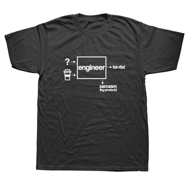 Engineer Coffee Sarcasm Funny Job Develop T-Shirt Mens Short Sleeves Oversized Streetwear Hip Hop  Printed T Shirts Top Tees