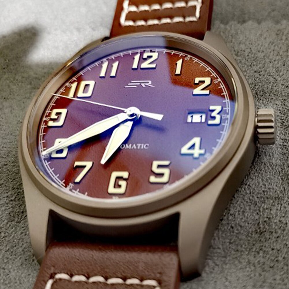 Titanium Watch Men Automatic Mechanical Wristwatch Retro Pilot NH35 Self Winding Sapphire Crystal Lu