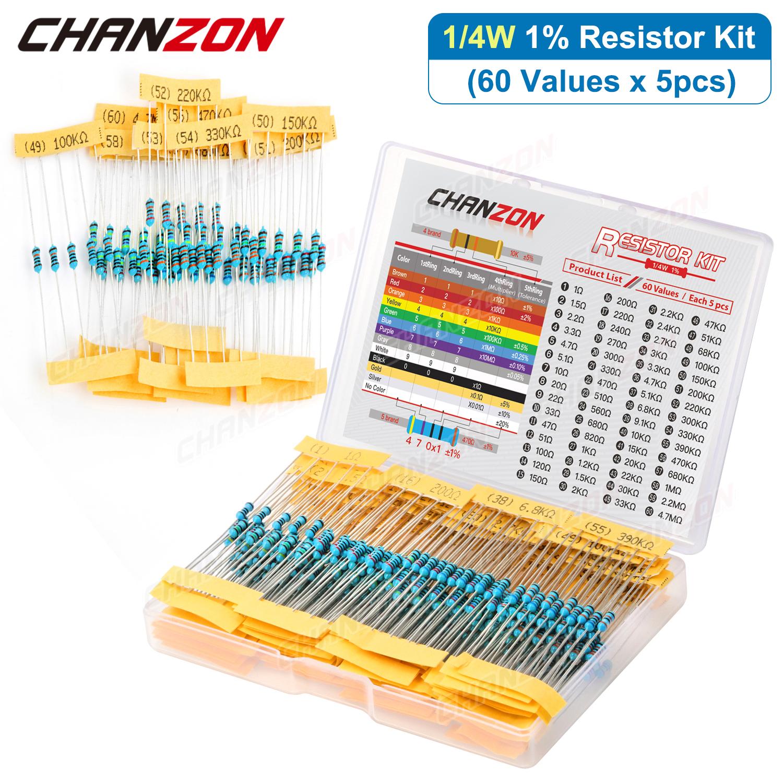 300Pcs/Pack 60 Values 1/4W Metal Film Resistors Kit 1 10 220 330 470 1K 4.7K 10K Ohm 1% High Precision Resistance Set Assortment