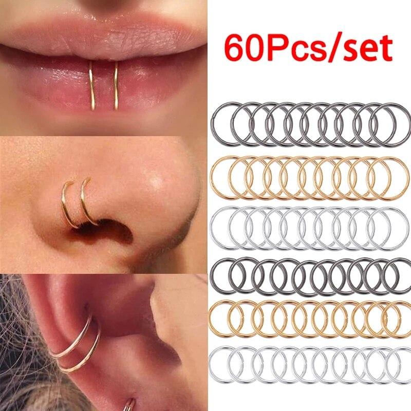 Кольцо для пирсинга носа в стиле панк, ювелирное изделие ручной работы для крошечного носа, губ, носа, носовой перегородки, гвоздика, 60 шт./ко...