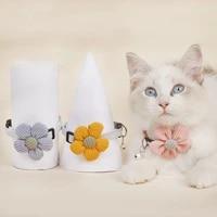 flower cotton cat collar knitting flower pet collar with bell pendant cat collar pet accessories cat dog collar decoration