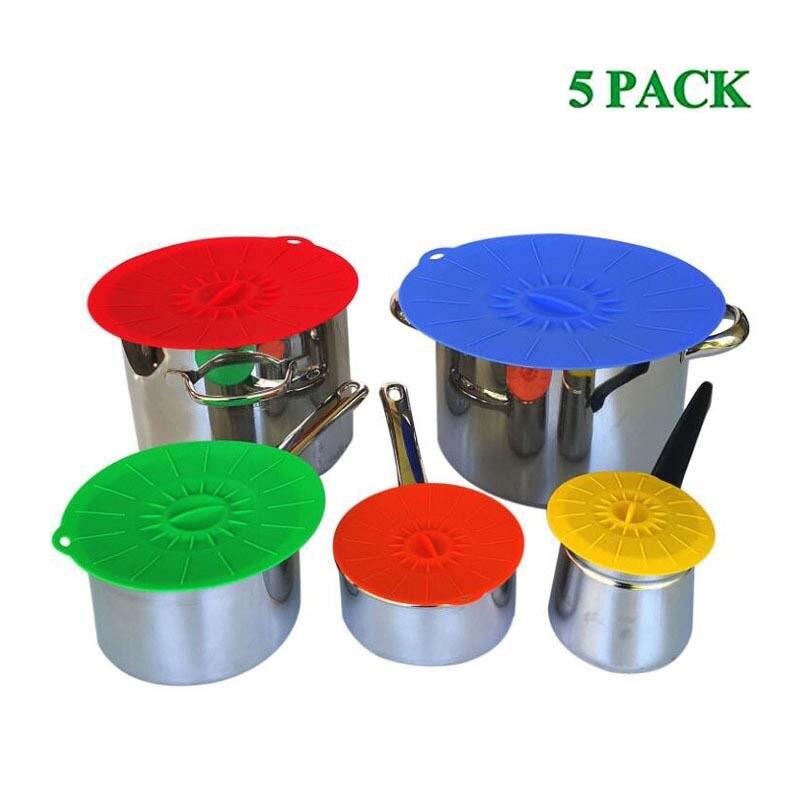 5 قطعة قابلة لإعادة الاستخدام السيليكون غطاء الميكروويف عاء غطاء العالمي سيليكون شفط غطاء لصحن يمكن عموم وعاء قبعات الطبخ أدوات المطبخ