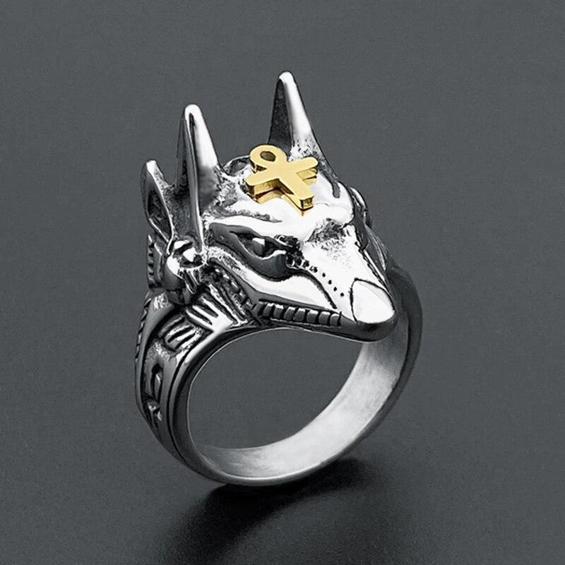 Anillos de cabeza de Lobo de la muerte Anubis Retro bohemio al por mayor anillos de acero inoxidable para hombres para mujeres accesorios de joyería de Hip Hop