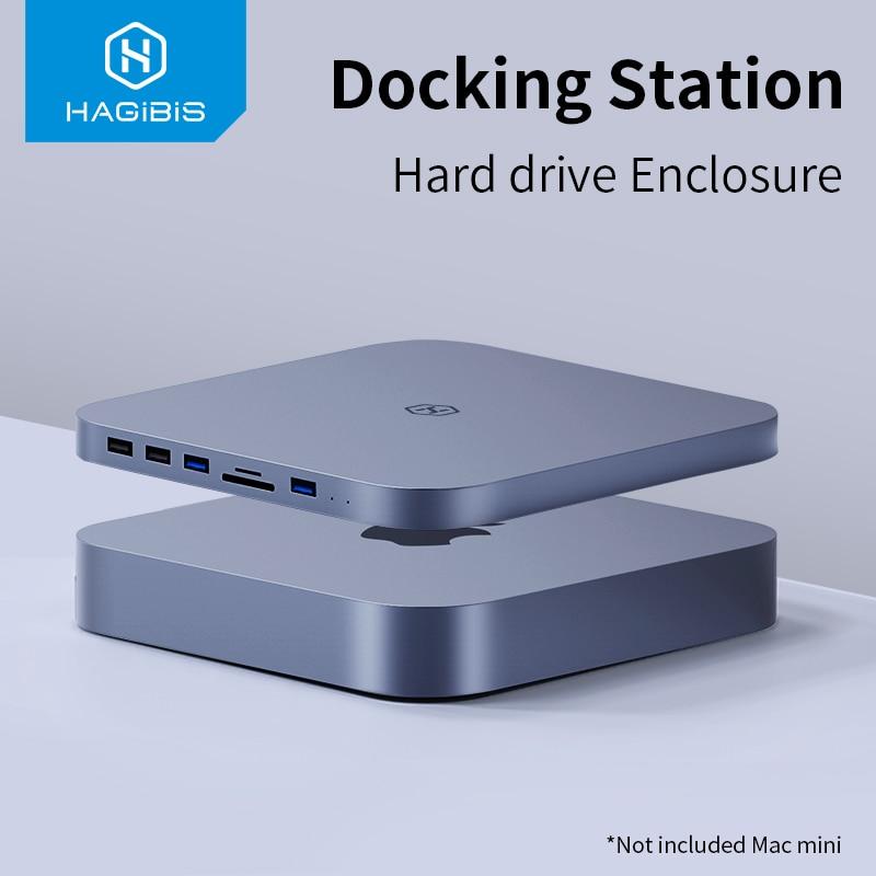 Hagibis USB-C محور مع SATA القرص الصلب ضميمة ل ماك ميني USB 3.0 Hub ل 2020 جديد ماك ميني M1 نوع-C SSD حالة SD/TF قارئ
