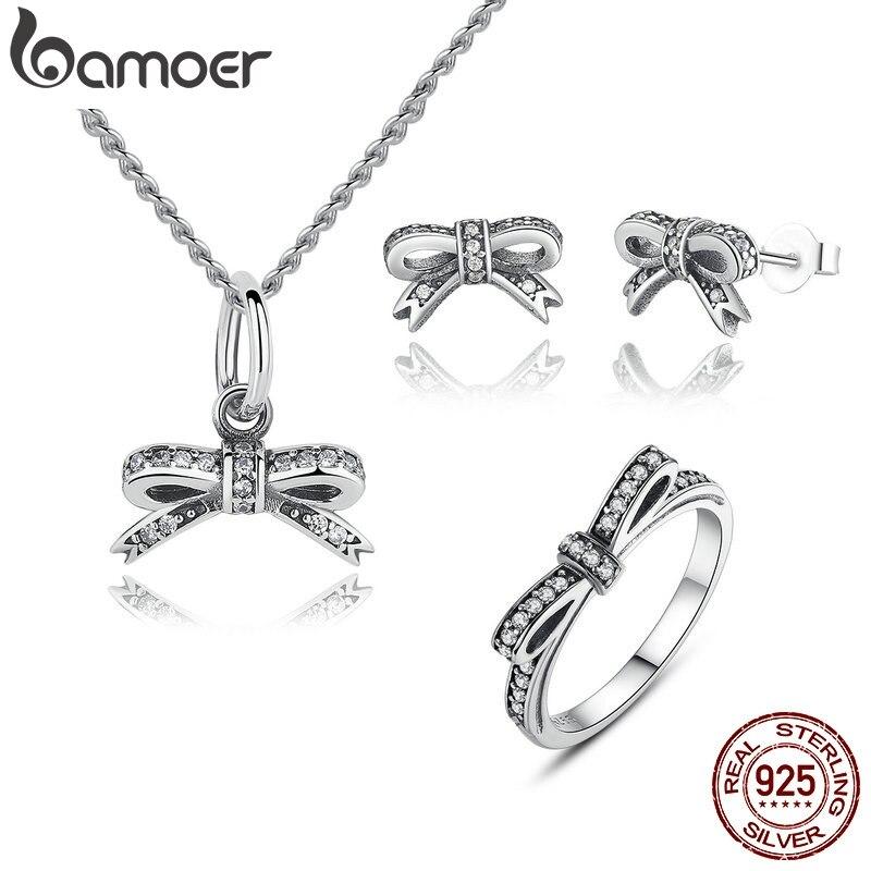 Bamoer 925 prata esterlina espumante arco nó empilhável anel conjuntos de jóias de noiva conjuntos de jóias de prata esterlina & mais zhs022