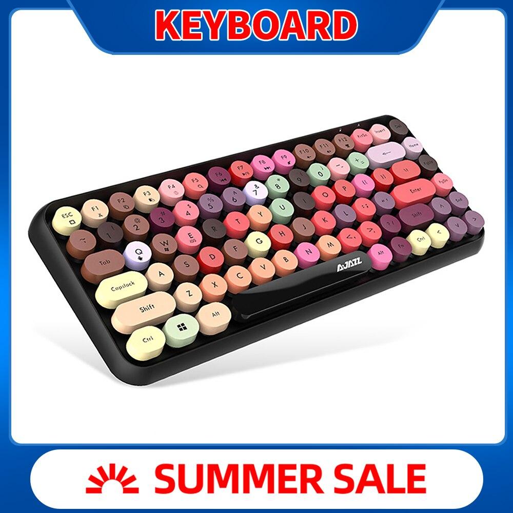 IBen teclado Bluetooth Retro Keycap Panel de plástico colorido 84 llaves para teléfono móvil Tablet PC casa Oficina teclado