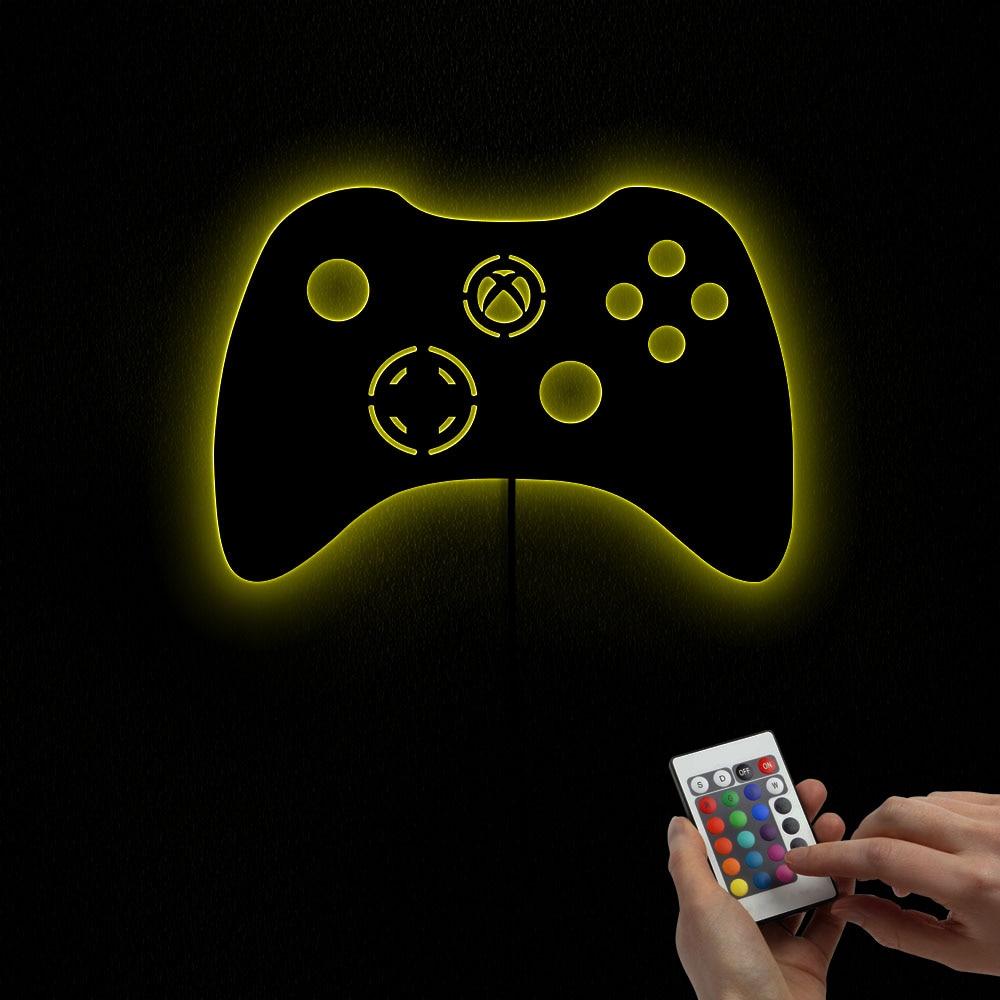 Recreativos Retro Gamepad controlador forma de espejo de pared de luz Joystick de vídeo juegos juego fanático casa espejo decorativo, regalo para él,