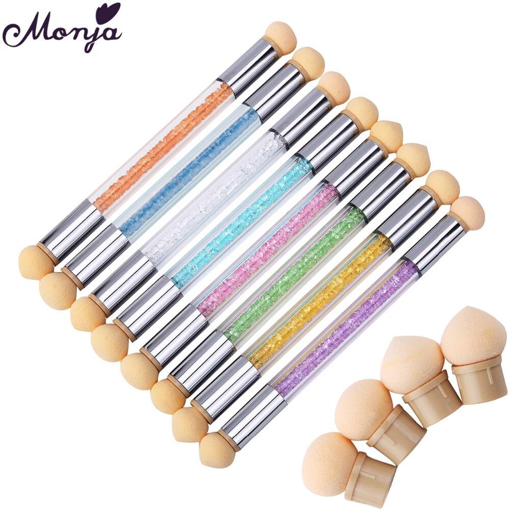 Monja Double Head Nail Art Color Gradient pen Acrylic Uv Gel Manicure Brush+6 Sponge Head Stamp Bloom Replacement Manicure Tools