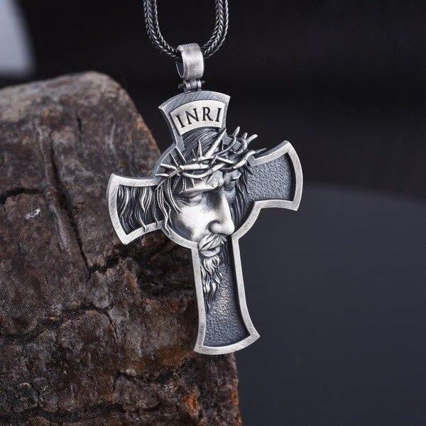 Colgante cristiano para hombre con cruz de Jesús de aleación explosiva de Europa y Estados Unidos