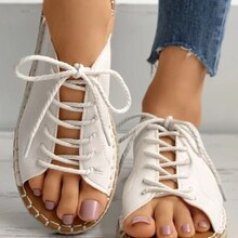 Women's 2021 Summer New Bohemian National Style Flat Bottom Holiday Lace-up Open Toe Shoes Women San