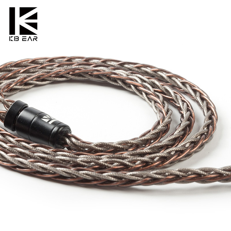 Kbear rhyme 8 núcleo upocc único cabo de cobre cristal 2pin/mmcx/qdc/tfz com 2.5/3.5/4.4 material conector fone de ouvido cabo ks2