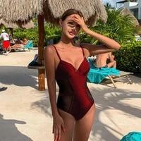 sexy push up swimsuit womens beach fashion cup swimwear lady mash breathable bodysuit black one piece suit bath monokini
