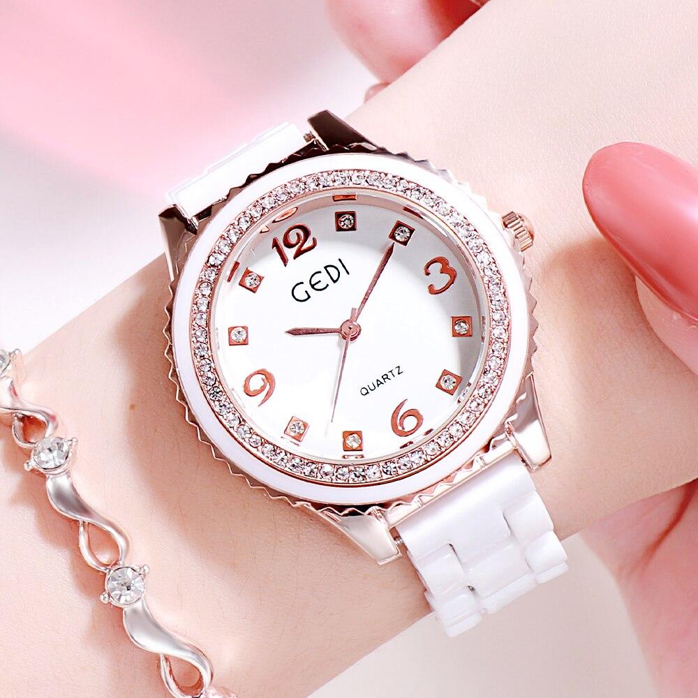 GEDI New Luxury Ceramic Watches Women Quartz Wristwatch Waterproof Rhinestone Dial Analog Ladies Wat