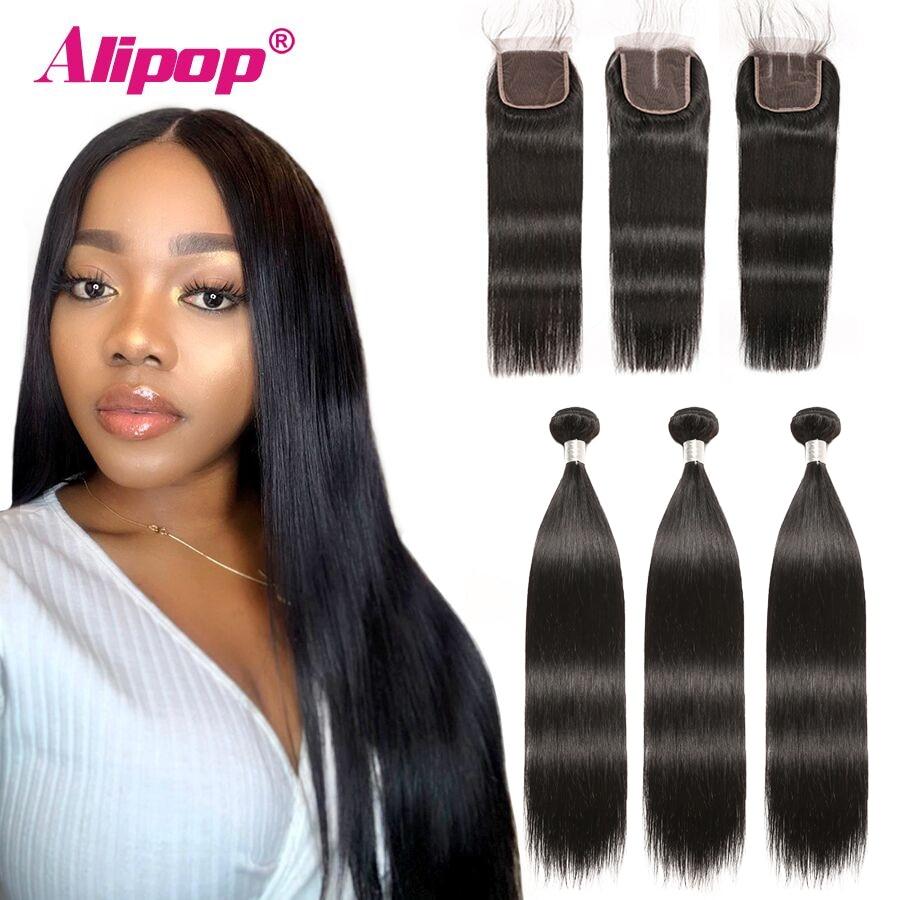 Alipop волосы прямые пряди волос с закрытием перуанские волосы 3 пряди с закрытием Remy 100% человеческие волосы пряди с закрытием