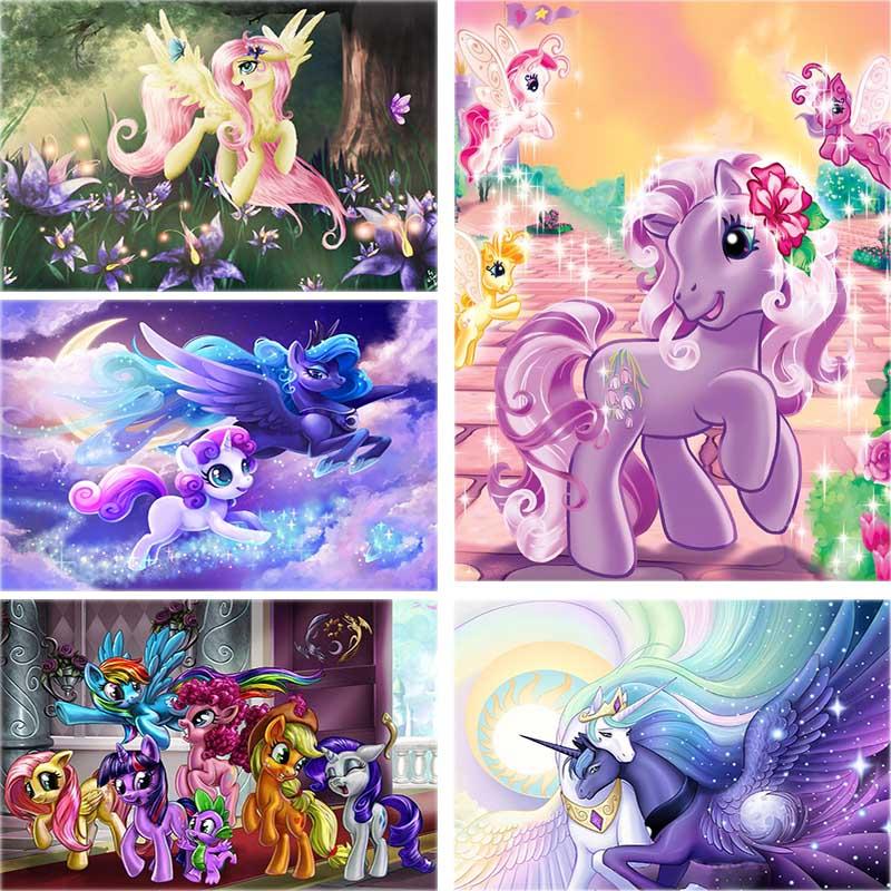 AliExpress - Diamond Painting Cross Stitch Cartoon Pony Princess Full Square Round 5D Diy Drill Embroidery Unicorn Rhinestone Home Decor