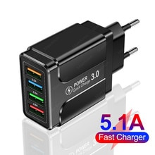 5.1A 4 USB Fast Charger Quick Charge 4.0 3.0 Universal Wall For iPhone 12 11 Samsung Xiaomi Mobile P