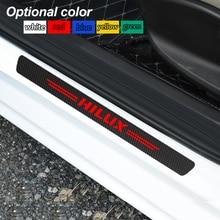 4 Uds Umbral de puerta de coche de fibra de carbono pegatina antiarañazos para Toyota Hilux surf vigo revo 2017 2018 Accesorios