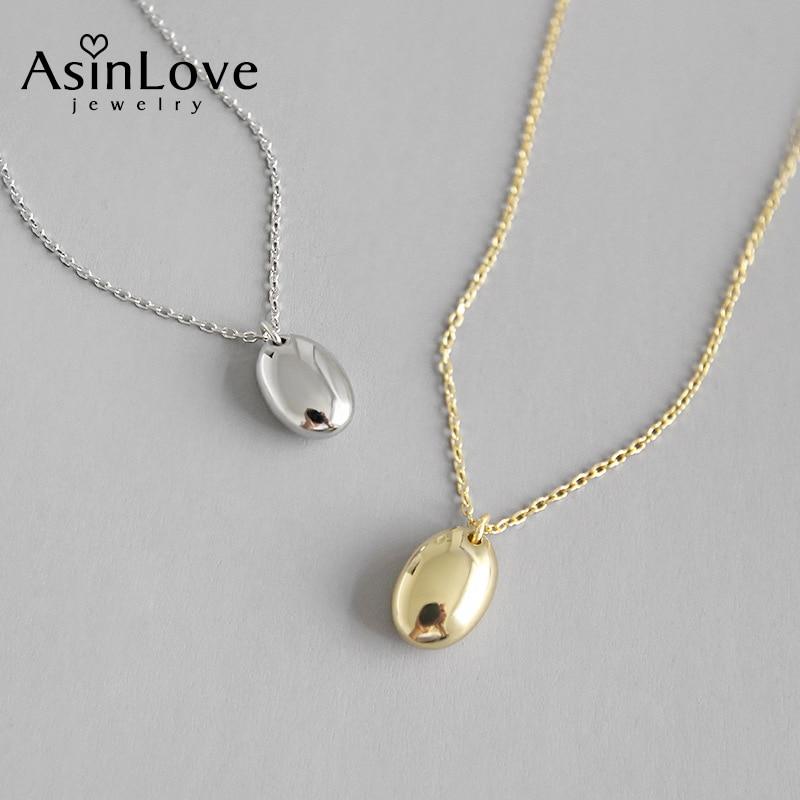AsinLove, collar con colgante elíptico liso sencillo de oro de 18K para mujer, collar largo de Plata de Ley 925 auténtica de regalo, joyería fina