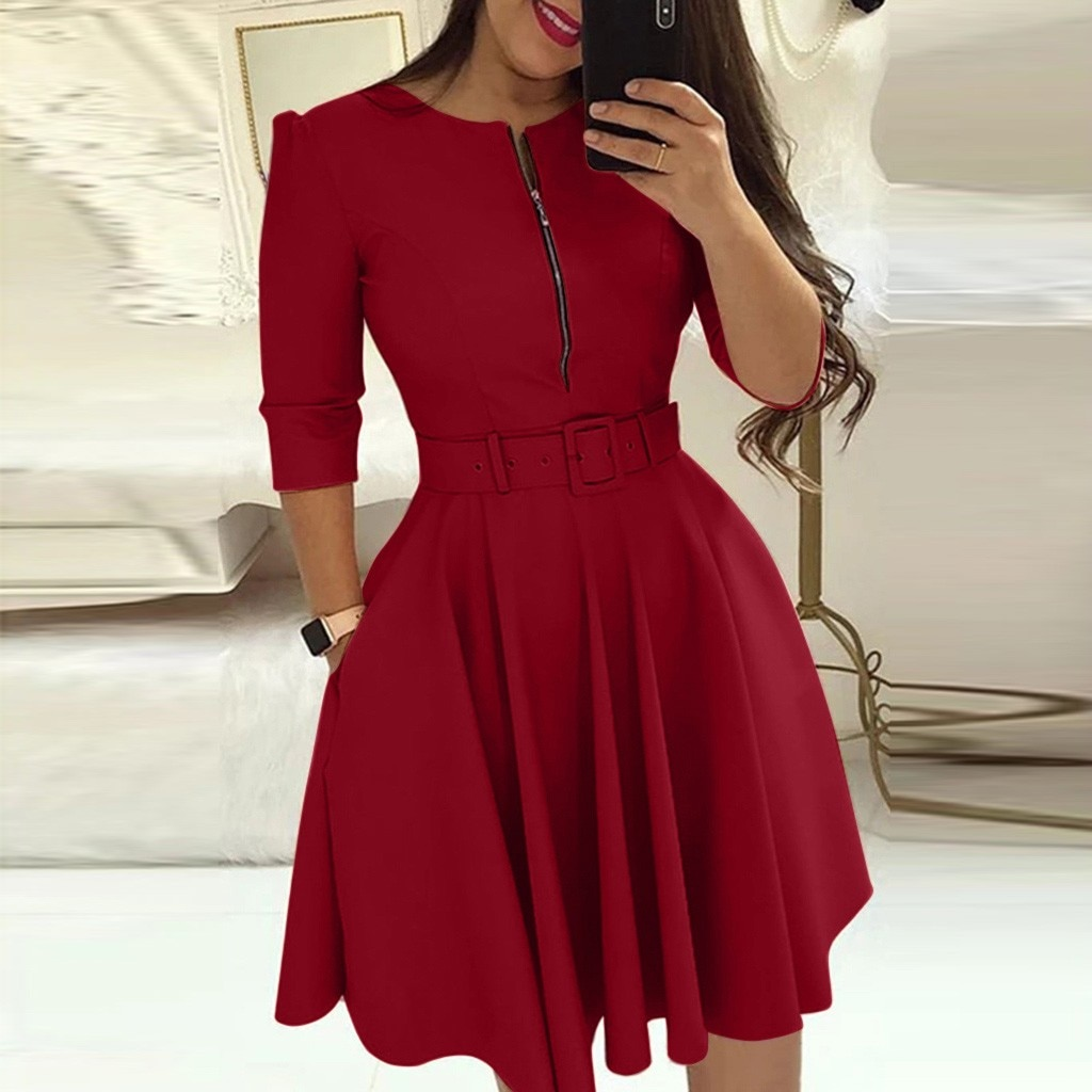 Dresses For Women Fashion Round Neck Solid Three Quarter Sleeve Dress Party Dress Sexy Prom Clothing