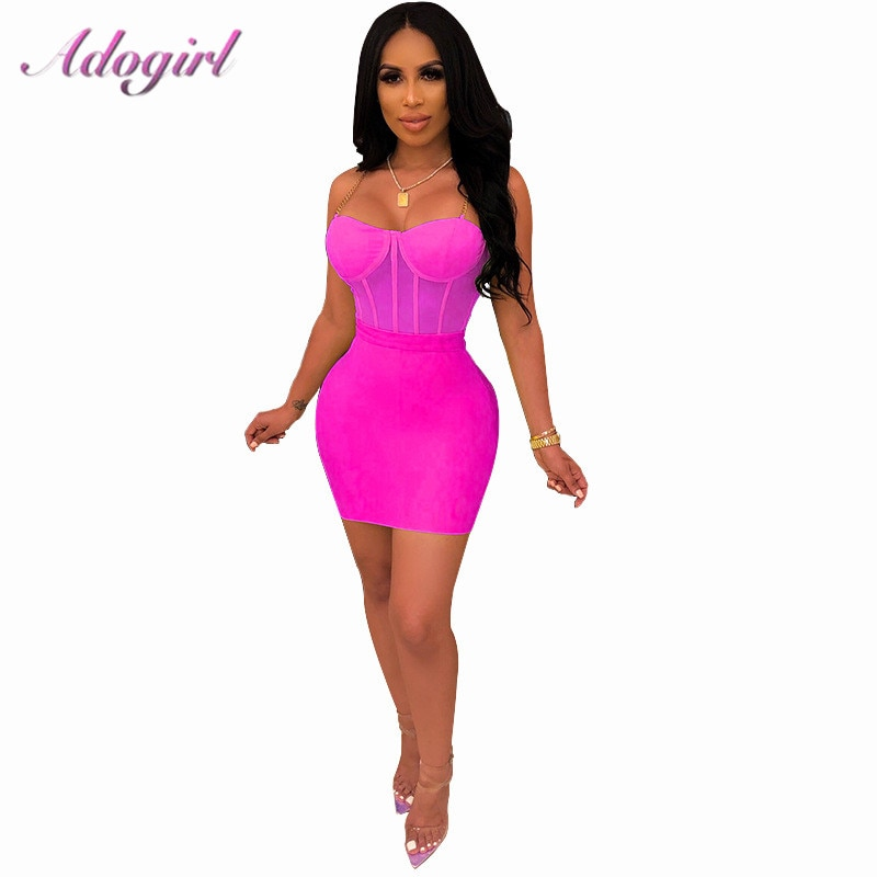 Adogirl Sexy Sheer Mesh Chain Spaghetti Straps Dress Two Piece Set  Crop Top+ Bodycon Mini Dress women Night Club Party Dresses