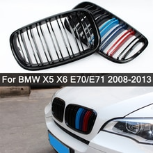 Expédier dans les 24 heures! Pour BMW X5 X6 E70 E71 2008-2013 noir brillant M double latte Grille de rein avant Grille de Refit capot pare-chocs Grille
