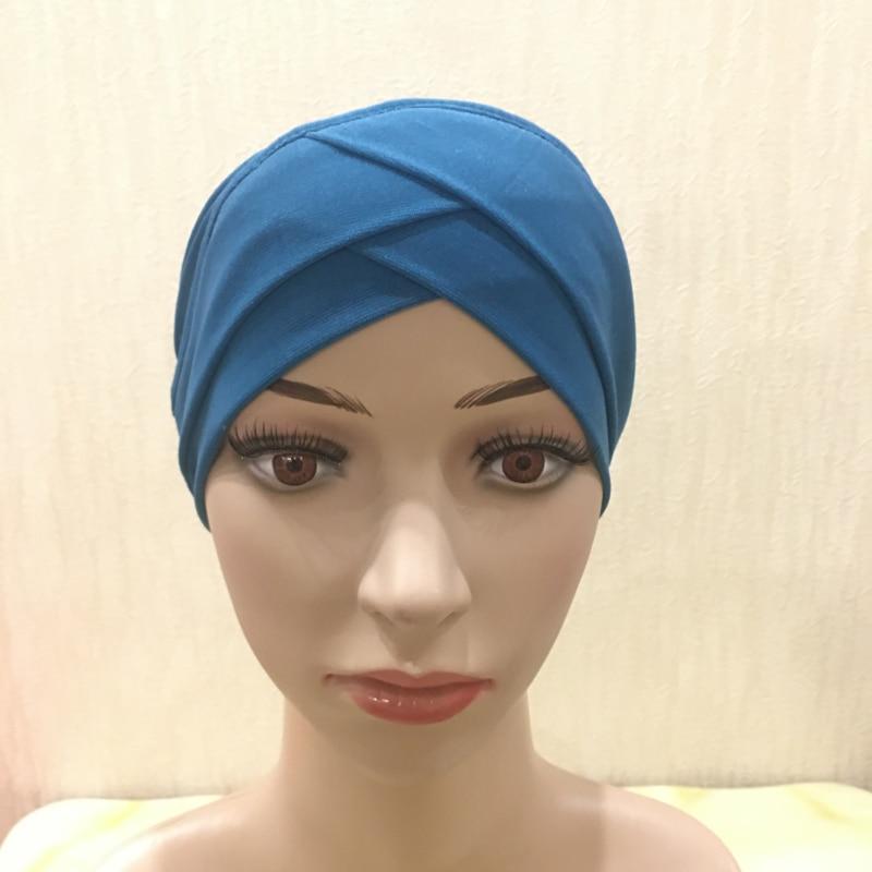 H117 alta qualidade criss cruz muçulmano hijab chapéus pull on lenço islâmico turbante hijab headcover completo feminino headwrap ramadan presentes