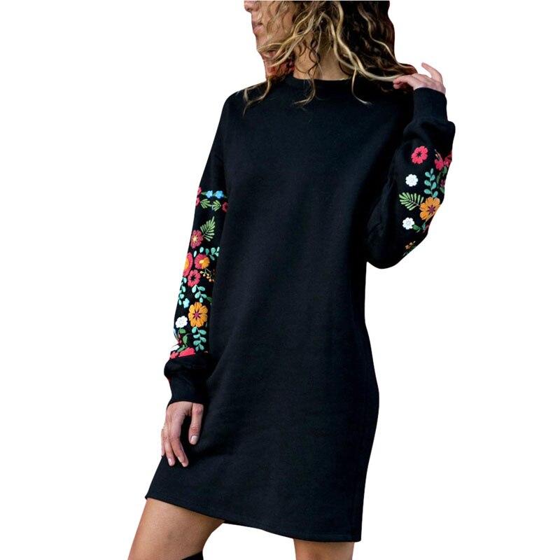 Женское зимнее мини-платье LASPERAL, классическое теплое платье с цветочным принтом и длинным рукавом и о-вырезом, черное уличное платье 2020