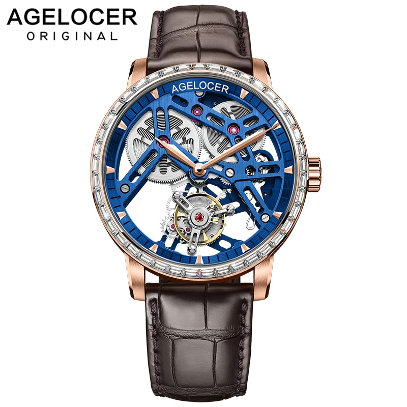AGELOCER-ساعة رجالية ، ساعة يد توربيون ، مينا هيكل عظمي من الياقوت الأزرق ، ميكانيكية ، أصلية