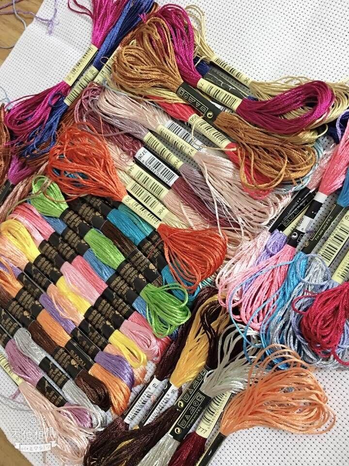 Oneroom 50 Uds Color al azar bordado bricolaje seda línea rama hilos similares Dmc hilo madeja Cruz puntada hilo