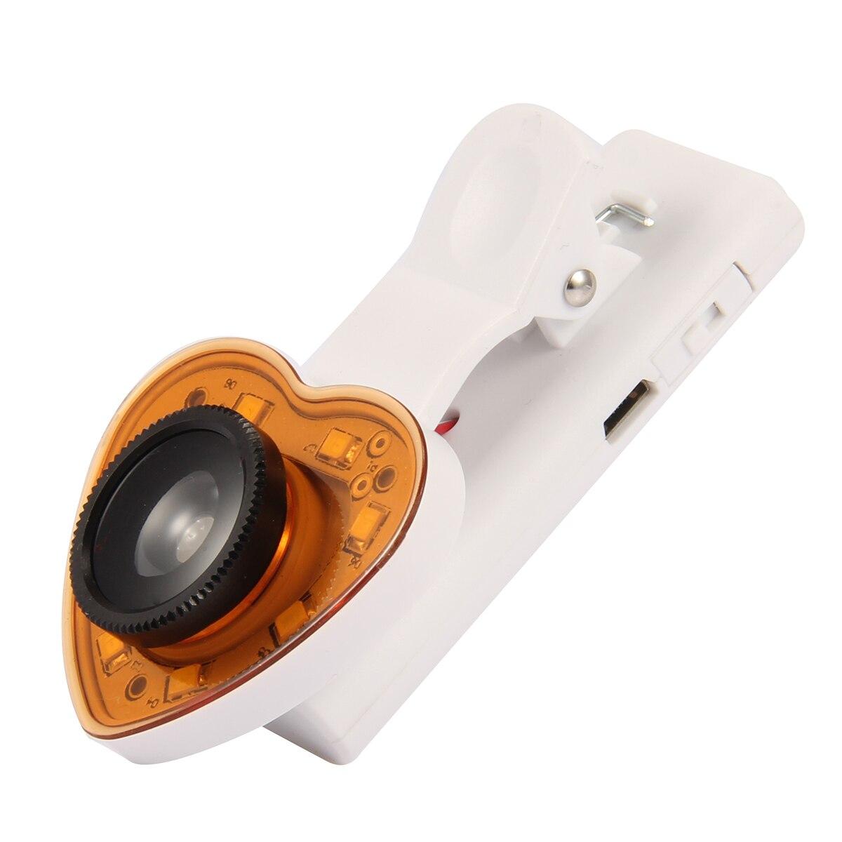 Clip 3 en 1 en la lente de la Cámara gran angular ojo de pez Macro con 8 LED Luz de relleno Selfie para teléfonos inteligentes
