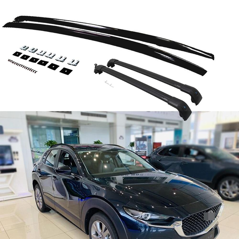 4 pièces Aluminium haut toit Rail support côté Rail barre barres transversales barres transversales convient pour Mazda- CX-30 CX30 2020 2021-noir