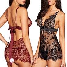 Black Red Babydoll Sleepwear Exotic Apparel Women Sexy Lingerie Lace Dress Underwear G-string Nightw