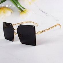2021 New Fashion Oversize Gradient occhiali da sole per le donne Vintage lega catena telaio rivetto quadrato occhiali da sole femminili eleganti tonalità